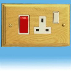 Varilight Kilnwood 45A Cooker Panel + 13A Switched Socket Ash White Insert XK45PAW